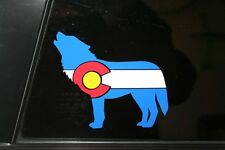Colorado State Flag Wolf Howling Die-Cut Sticker