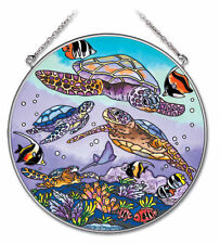 "Sea Turtles Sun Catcher AMIA Hand Painted Glass 6 1/2"" Round Underwater Reef New"