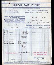 """ST-AMAND-les-EAUX / PARIS (59 / X°) FAIENCE / FAIENCERIE """"UNION FAIENCIERE"""" 1938"""