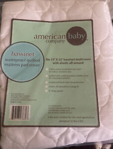 American Baby Company Bassinet Waterproof Quilted Matress Pad Cover -New