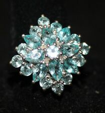 Item #156 Madagascar Paraiba Apatite (Pear), Diamond Ring, Size 7
