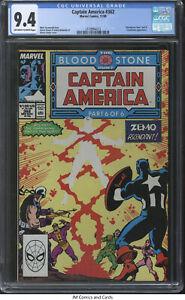 """Captain America #362 1989 CGC 9.4 - """"""""Bloodstone Hunt"""""""" part 6, Crossbones app"""