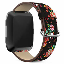 Floral Leather Replacement Watch Band Bracelet Wrist Loop Strap For Fitbit Versa