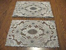 6 Antique Linen Madeira Hand Emb/ Cutwork/ Needlelace Placemats -