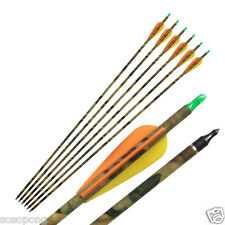 "6pc 31"" Camo Carbon Fiber Arrows Archery Hunting Nocks For Compound Bow Shooting"