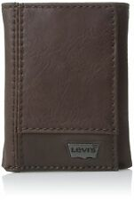 Levi's Men's Leather Trifold Two-Tone Wallet Brown One Size