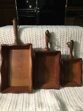 WOOD TRAYS APCO WALL HANGINGS Or BOXES VINTAGE With Handles 3 Piece Set By JAPAN