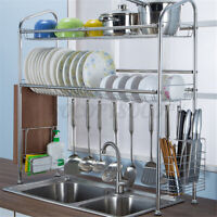 31'' Over The Sink Dish Drying Rack Shelf Stainless Steel Storage Cutlery Holder
