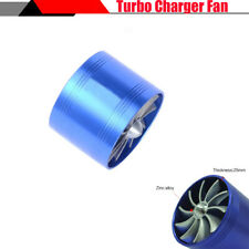 Blue Car SUV Turbo Single Air Intake Fan Fuel Gas Saver With 2x Rubber Covers
