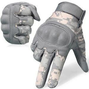 ACU Camo Full Finger Tactical Gloves Airsoft Paintball Hunting Army Motorcycle
