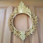 Picture Frame Teak Wood Carving Wall Hanging Mirror Thai Home Decor Gift Collect