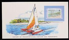 1980 Grenada History of Transportation Trimaran 5c Stamp Card