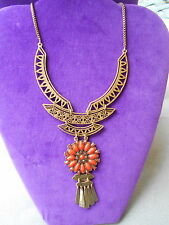 Lucky Brand Authentic NWT Gold-Tone Floral Openwork Bib Necklace