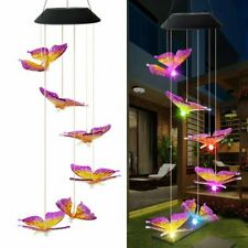 Solar Powered Color Changing Led Butterfly Wind Chimes Lights Home Garden Decor