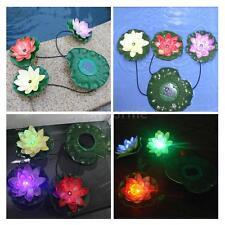 Lotus Flower Solar Power LED Light Floating Pond Garden Pool Night lamp TU4O