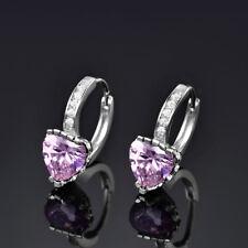 New Fashion Love Heart Ladies Sapphire Hoop Drop Filigree Earrings Wedding Party