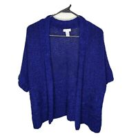 Chico's Blue Cardigan Open Front Loose Knit Short Sleeve Sweater Size 1 Medium