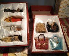 Lot of Ceramic Porcelain Miniature Ladies Vintage Shoes (4) & Purses (4)