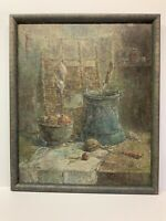 "Original Oil Painting On Canvas Signed Armenian Artist Framed 21x25"" Still Life"