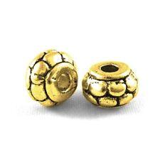 Packet 30 x Antique Gold Tibetan 5 x 8mm Rondelle Spacer Beads HA15040