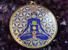 "$72 #Chakra Man Lotus #Flower Of Life #Turquoise Gemstone 1 5/8"" Sterling Silver"