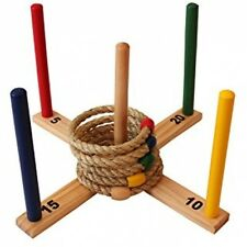 Ring Toss Set Quoits Game For All - Indoor/Outdoor Game w/ Rope Rings Lawn Game