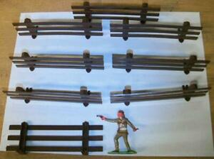 """Marx PL-79 """"Farm Fence and Barricade (8 pcs) Brown"""" 54mm Plastic Toy Scenery"""