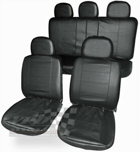 Front Rear Leather Look Seat Covers Black Universal Fit air bag friendly car