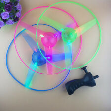 Funny LED Flashing Light Up Pull String Flying Saucer Propeller Disc Kids Toys
