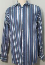ETRO Milano Regular Fit Blue & Gray Men's Shirt 17-1/2 34 Size 43