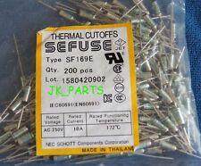 10pcs SF169E SEFUSE Cutoffs NEC Thermal Fuse 172°C Celsius Degree 10A 250V