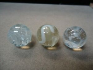 3 Vintage German White Wire Pull Marbles    5/8  to  11/16   Mint +   Circa 1960