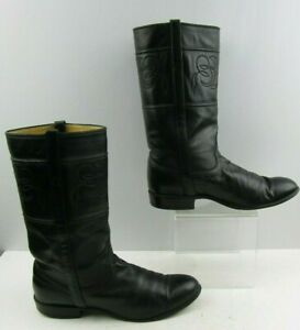 Mens JS Justin Black Distressed Leather Western Boots Size : 9.5 B *NARROW *