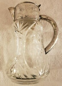 Antique Ornate German Heavy Glass Crystal and Silverplate Etched Grapes Pitcher