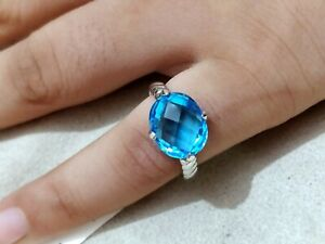 Oval Checker cut Swiss Blue Topaz Engagement Ring 925 Sterling Silver Women Ring