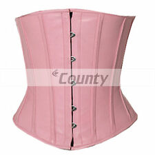 Underbust Corset Pink Real Leather Full Steel Boned Spiral Basque Lacing Shaper