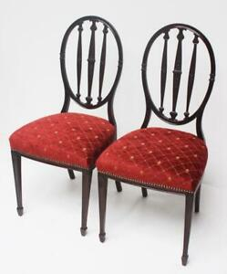 Hepplewhite Mahogany Dining Chairs  ( A Pair )  [ PL-6628 ]