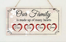Handmade Personalised Plaque Our Family Hearts Gift Sign Present Mother's day