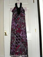 LADY'S LONG PURPLE FLORAL MAXI EVENING DRESS BY DEBENHAMS UK SIZE 10 VGC