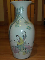 """Late 19th-Early 20th C Antique Chinese Oriental 18"""" Vase-Signed"""