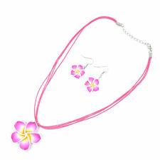 Plum Red Beautiful Flower  Lovely Girl&Lady Hawaiian Necklace Earrings Jewelry