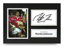 Martin Johnson Signed A4 Photo Display British Lions Rugby Autograph Memorabilia