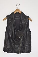 *STUNNING* AllSaints Ladies Leather STANTON Gilet jacket UK12 US8 asquith