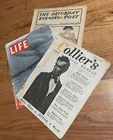 Vintage Magazines Life (1937), Post (1902), Collier's (1919)