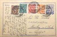 ALLEMAGNE / DEUTSCHLAND 16.4.1923 Mi.189, 208P, 225, 226a auf Postkarte P148aI