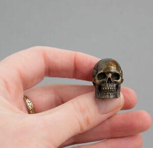TINY Vintage MINIATURE Solid BRONZE SKULL Death Head WW1 Trench Art SCULPTURE
