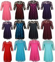 NEW LADIES PLUS SIZE FLORAL LACE DETAIL PARTY DRESS WOMENS 3/4 SLEEVE DRESS14-28