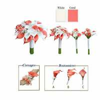 Artificial Real Touch Coral Calla Lily Baby Breath Bouquet Corsage Boutonniere