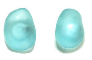 LIGHT BLUE SEA GLASS STUD EARRINGS (S117)