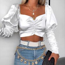 Women Off Shoulder Puff Ruffle Long Sleeve Shirt Casual Cami Blouse Crop Top  ZB